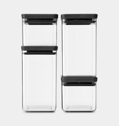 Контейнеры для хранения продуктов Brabantia Tasty+, набор 4шт, тёмно-серый 122422