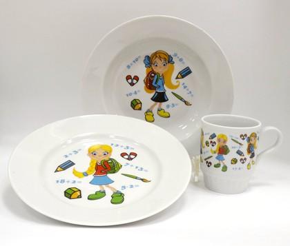 Набор детской посуды 1/3 Первоклашка, ф. Русское поле Дулёвский фарфор Д05343