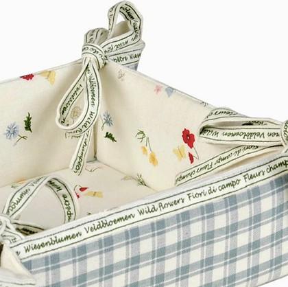 """Clayre & Eef FLEURS CHAMPETRE Корзина для хлеба """"Полевые цветы"""", 35х35см - фрагмент, основной тон - голубой, артикул FC47BL"""