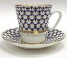 Чашка с блюдцем Кобальтовая сетка, ф. Чёрный кофе ИФЗ 81.14569.00.1