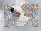 Скатерть Aitana Digital07, 140x100см, водоотталкивающая, разноцветные круги DP07/140100/circle