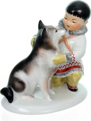 Статуэтка ИФЗ Якут с собакой, фарфор 82.00961.00.1