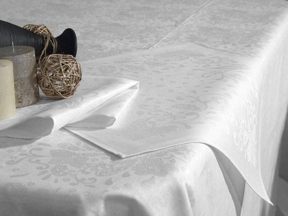 Скатерть Белорусский лён Катюша 150x250, 6 салфеток 50x50, белый 10c229/150x250/86/0