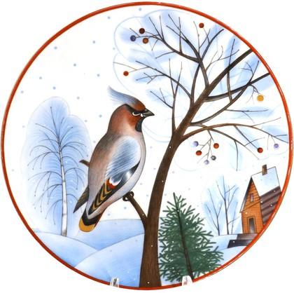 Тарелка декоративная ИФЗ Эллипс, Зимующие птицы Январский свиристель 80.80353.00.1