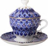 Чашка с блюдцем и крышкой чайная Чешуйка 250мл, ф. Подарочная-2 ИФЗ 81.14347.00.1