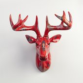 Фигура на стену Pomme-Pidou Олень Нельсон, красный 148-00257