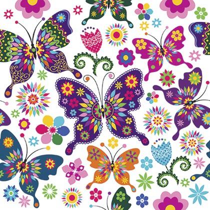 Салфетки Красочные бабочки 3-сл., 20шт 33x33см Paw TL566000
