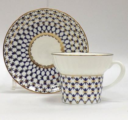 Чашка с блюдцем Кобальтовая сетка, ф. Волна ИФЗ 81.14575.00.1