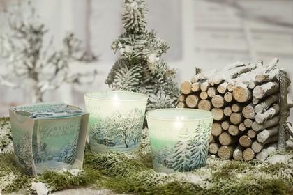 Свеча декоративная Bartek Candles Новогоднее Дерево, стакан 5901685036375