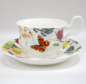 Чайная пара для завтрака Порхающие цветы 400мл Top Art Studio LD2233-TA