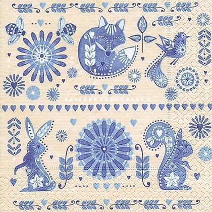 Салфетки для декупажа Paper+Design Голубой дизайн, 33x33см, 20шт 21837