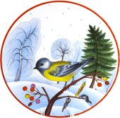 Тарелка декоративная ИФЗ Эллипс, Зимующие птицы Большая синица 80.80789.00.1
