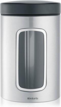 Банка для хранения продуктов Brabantia с окном 1.4л, стальной матовый 299247