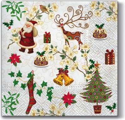 Салфетки для декупажа Paw Рождественские товары, 33x33см, 20шт SDL097600