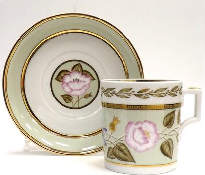 Чашка с блюдцем Нефритовый фон 1, ф. Гербовая ИФЗ 81.20825.00.1