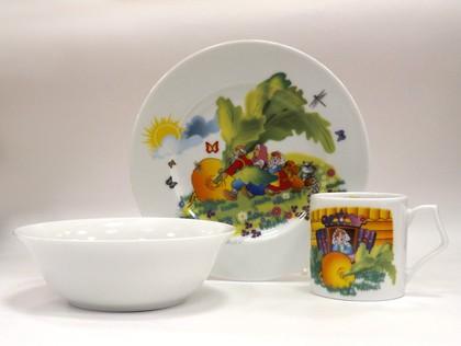 Набор для завтрака с рисунком Репка Porcelaine Czech Gold Hands DSKY24/3ИМП
