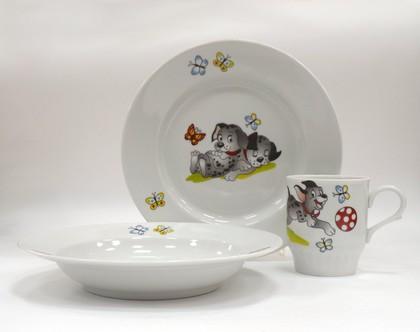 Набор детской посуды 1/3 Озорные щенки, ф. Русское поле Дулёвский фарфор Д05181