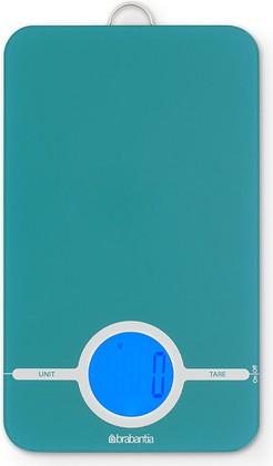 Цифровые кухонные весы 5кг/1г из нержавеющей стали лазурного цвета Brabantia 482564