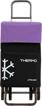 Термосумка-тележка хозяйственная чёрная с фиолетовым Rolser DOS+2 THERMO TER038negro/malva