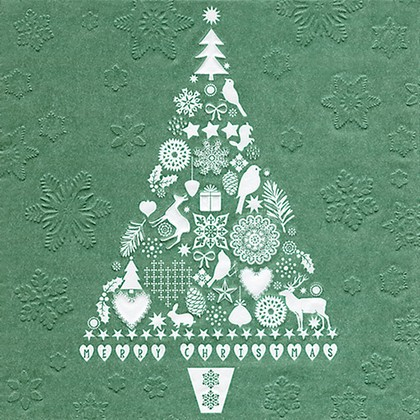 Салфетки для декупажа Ёлка, 33x33см, 3 слоя, 16шт Paper+Design 64021