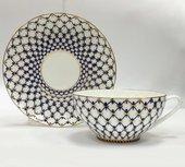 Чашка с блюдцем Кобальтовая сетка, ф. Купольная ИФЗ 81.18456.00.1