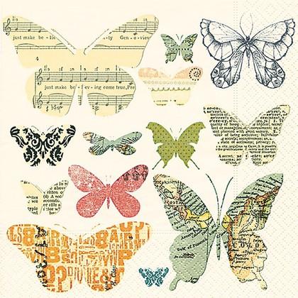 Салфетки для декупажа Стая бабочек, 33x33см, 3 слоя, 20шт Paper+Design LN0795