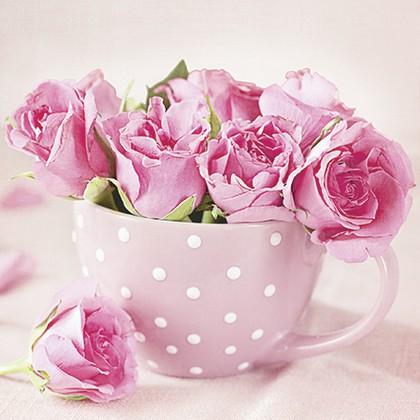 Салфетки для декупажа Розы в чашке 33x33, 3-сл, 20шт Paw TL571000