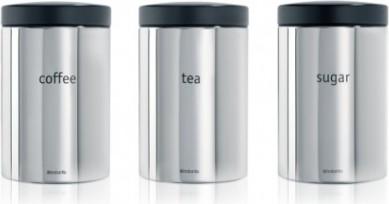 Набор из 3 стальных контейнеров для кофе, чая и сахара 1.4л, полированная сталь Brabantia 204166