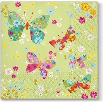 Салфетки ланч 3-х слойные Вокруг бабочек, 33x33, 20шт Paw SDL054900