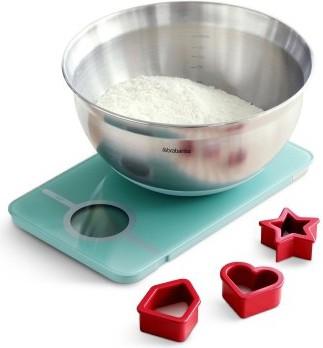 Весы кухонные электронные Brabantia, 5кг, миска 1.6л, формочки для выпечки, мятный 104725