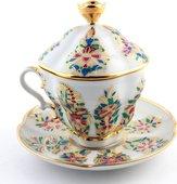 Чашка с блюдцем и крышкой чайная Фантастические цветы, ф. Подарочная-2 ИФЗ 81.10318.00.1