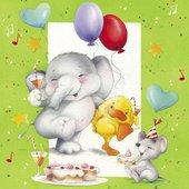 Салфетки для декупажа Paw Слон и друзья, 33x33см, 20шт TL569000