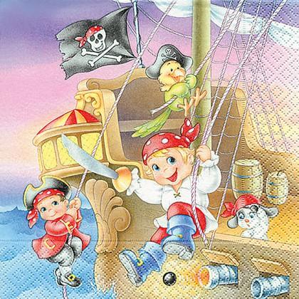 Салфетки для декупажа Пираты, 33x33см, 3 слоя, 20шт Paper+Design 21708