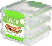 Набор контейнеров для сэндвичей Sistema Fresh, 450мл, 3шт, салатовый 951643