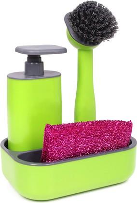 Дозатор моющего средства с щёткой для посуды и губкой на подставке Vigar Rengo 6042