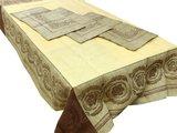 Скатерть Вирсавия 150x250 + 6 салфеток 49x49 жёлто-коричневая Белорусский лён 11c507/150x250/344/1324