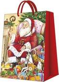 Пакет подарочный бумажный Paw Санта у камина 30x41x12см AGB021002