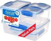 Набор контейнеров 6 предметов, голубой Sistema Fresh 921760