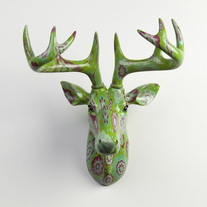 Фигура на стену Pomme-Pidou Олень Нельсон, зеленый в цветочек 148-00258