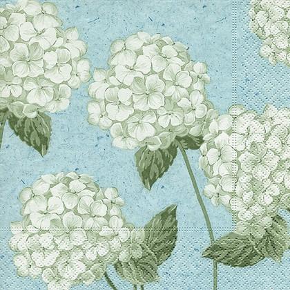 Салфетки для декупажа Гортензия на голубом, 33x33см, 3 слоя, 20шт Paper+Design 21882