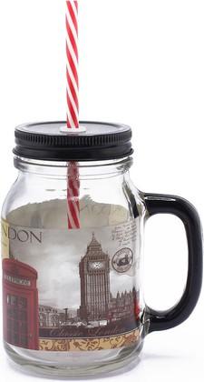 Стеклянная банка для напитков с соломинкой Новый Лондон, 550мл The Leonardo Collection LP26549