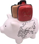 Копилка для денег Pomme-Pidou Свинья путешественник, белый 17x12.2x15.5см 1025-00001/F