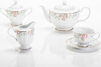 Сервиз чайный Porcelaine Czech Gold Hands Сакура 6 персон, 17 предметов LUISA027GC/17