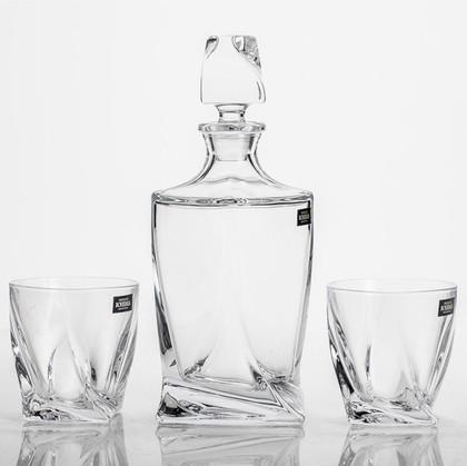 Набор для виски Квадро графин 850мл, 2 стакана 340мл Crystalite Bohemia 99999/9/99A44/886