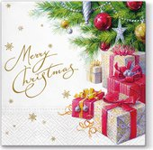 Салфетки для декупажа Paw Рождественский подарок, 33x33см, 20шт. TL657000
