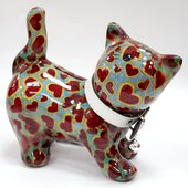 Копилка Pomme-Pidou Кошка Kitty голубая с сердечками 148-00021/3