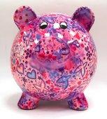 Копилка Свинья BIG PEGGY XL розовая с сердечками Pomme-Pidou 148-00026/D
