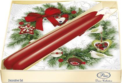 Подарочный набор Paw Рождественский венок, 20 салфеток, 2 свечи SSC025200