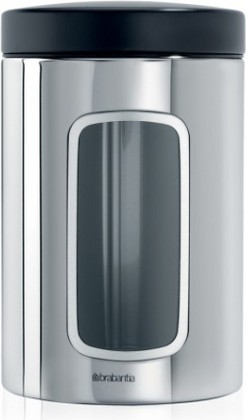 Банка для хранения продуктов Brabantia с окном 1.4л, сталь полированная 132803