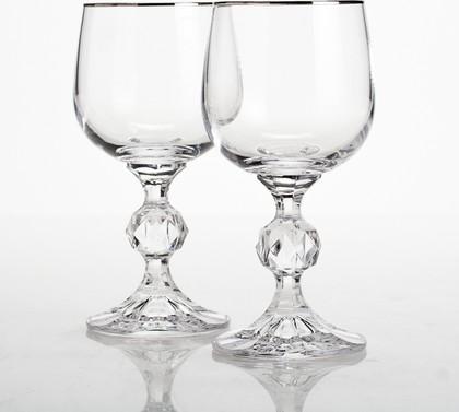 Бокалы для вина Crystalite Bohemia Клаудия, 2шт, 150мл, платиновая полоска 40149/150/20732х2S